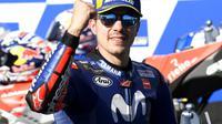 Pembalap Movistar, Maverick Vinales, menjuarai MotoGP Australia, di Sirkuit Phillip Island, Minggu (28/10/2018). (AP Photo/Andy Brownbill)