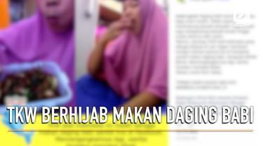 Video seorang TKW berhijab asal Indonesia sedang memakan daging babi.