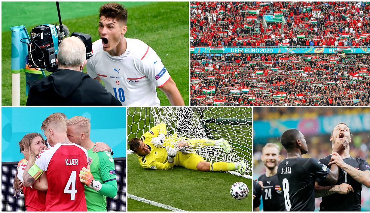 Berikut parade foto terbaik pilihan Bola.com pada putaran pertama Piala Eropa 2020. Mulai dari insiden Kolapsnya Christian Eriksen hingga momen Alaba remas mulut Marko Arnautovic.