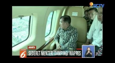 Wakil Presiden Jusuf Kalla tinjau simpul macet di Jakarta dari udara untuk mencari solusi kemacetan.