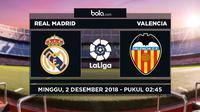Jadwal La Liga 2018-2019 pekan ke-14, Real Madrid vs Valencia. (Bola.com/Dody Iryawan)