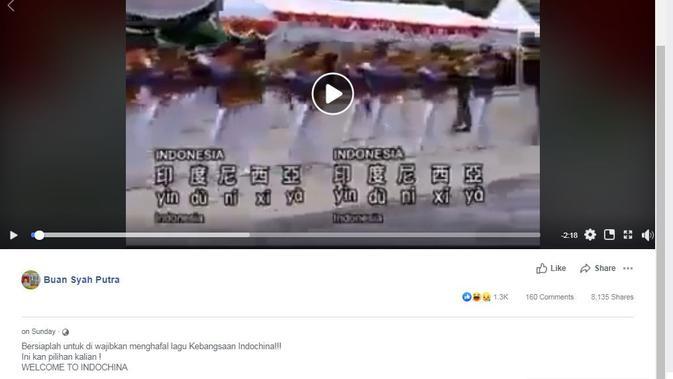 [Cek Fakta] Muncul Lagu Kebangsaan Indonesia Versi Mandarin dan Wajib Dihafal, Benarkah?