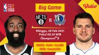 Duel Nets vs Mavericks, Minggu (27/2/2021) pukul 08.30 WIB dapat disaksikan melalui platform streaming Vidio. (Dok. Vidio)