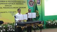 Kejaksaan Agung (Kejagung) melakukan kerjasama nota kesepemahaman (MoU) dengan Badan Nasional Penanggulangan Terorisme (BNPT). (Merdeka.com)