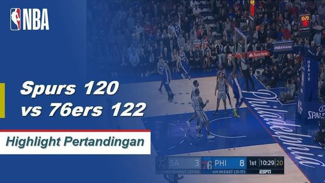 Joel Embiid mendominasi dengan 33 poin dan 19 rebound saat Philadelphia mengalahkan San Antonio, 122 - 120.