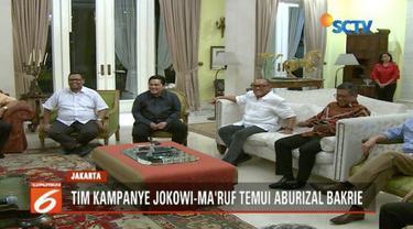 Tim kampanye Jokowi-Ma'ruf kunjungi kediaman Aburizal Bakrie untuk minta saran pemenangan.