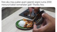 Ayam geprek unik. (Twitter/@tiarbah)