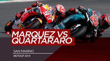 Berita video momen duel Marc Marquez dengan Fabio Quartararo pada balapan MotoGP San Marino, Minggu (15/9/2019).