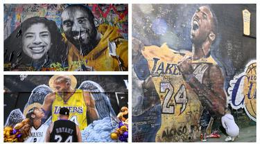 Satu tahun berlalu saat kepergian bintang basket NBA LA Lakers, Kobe Bryant bersama putrinya, Gianna dalam sebuah kecelakaan helikopter di Los Angeles, California, 26 Januari 2020. Karya seni berupa lukisan mural dipersembahkan untuk mengenang sang bintang. (Kolase Foto AFP)