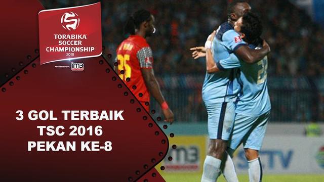 Video 3 gol terbaik Torabika Soccer Championship 2016 pada pekan ke-8.