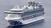 Kapal pesiar Diamond Princess berlabuh di Pelabuhan Yokohama saat kedatangan di Yokohama, Tokyo (4/2/2020). (Kyodo News via AP)