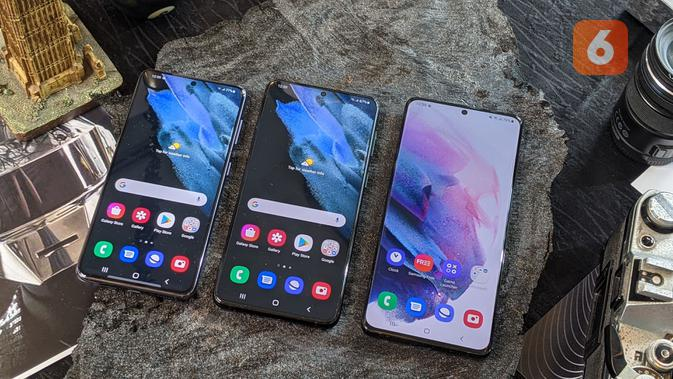 Galaxy S21, Galaxy S21 Plus, dan Galaxy S21 Ultra resmi diumumkan. (Liputan6.com/ Yuslianson)