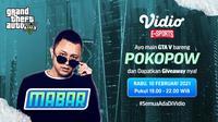 Main bareng GTA V bersama Pokopow, Rabu (10/2/2021) pukul 19.00 WIB dapat disaksikan melalui platform Vidio, laman Bola.com, dan Bola.net. (Dok. Vidio)