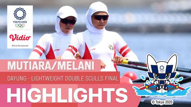 Berita video highlights perjuangan atlet Indonesia, Mutiara Rahma / Melani Putri di cabang olahraga dayung nomor Lightweight Women's Double Sculls babak final C di Olimpiade Tokyo 2020, Kamis (29/7/2021) pagi hari WIB.