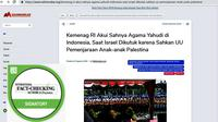 Cek Fakta. Banner Screenshot blog soal pengakuan agama Yahudi. (Liputan6.com)