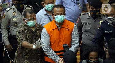 FOTO: Dugaan Suap Penetapan Calon Eksportir Benih Lobster, Menteri Kelautan dan Perikanan Edhy Prabowo Ditahan KPK
