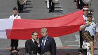Presiden Prancis Emmanuel Macron dan Presiden Amerika Serikat Donald Trump (AP)