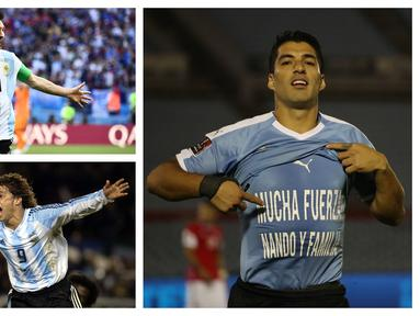 Tercatat ada lima pemain di posisi teratas dalam daftar top skor babak kualifikasi Piala Dunia zona Amerika Selatan atau CONMEBOL sepanjang masa. Dua pemain di posisi teratas hingga kini masih aktif bermain, Luis Suarez dan Lionel Messi. Yang lain? (Kolase Foto AFP)