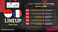 Sedan Berlangsung, Link Live Streaming Indonesia vs Prancis Piala Uber 2020 di Vidio. (Sumber : dok. vidio.com)