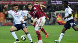 2. Mattia Destro - Mencetak tiga gol dari 15 laga membuatnya hanya bertahan enam bulan di AC Milan sebelum pindah ke Bologna. (Photo by OLIVIER MORIN / AFP)