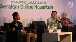 "Kepala Bekraf Triawan Munaf menjadi pembicara pada seminar Gojek Wirausaha #GerakanOnlineNusantara ""UMKM Kreatif dan Mandiri Kreasi Anak Bangsa"", Jakarta, Selasa (27/8/2019). Dalam seminar ini, Gojek melatih 550 UMKM yang berada dalam naungan enam kementerian/lembaga. (Liputan6.com/Angga Yuniar)"