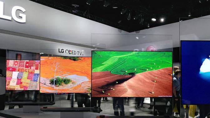 TV OLED beresolusi 4K dan 8K jadi andalan LG di Consumer Electronics Show (CES) 2017. (Liputan6.com/Corry Anestia)