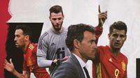 Luis Enrique, Sergio Busquets, David De Gea dan Alvaro Morata. (Bola.com/Dody Iryawan)