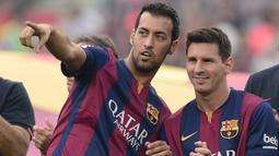 1. Sergio Busquets (523 laga) - Pemain asal Spanyol ini menjadi rekan Lionel Messi terlama di Barcelona. Tercatat selama 13 tahun berseragam Barcelona, Busquets telah bermain sebanyak 523 laga bersama Lionel Messi. (AFP/Josep Lago)