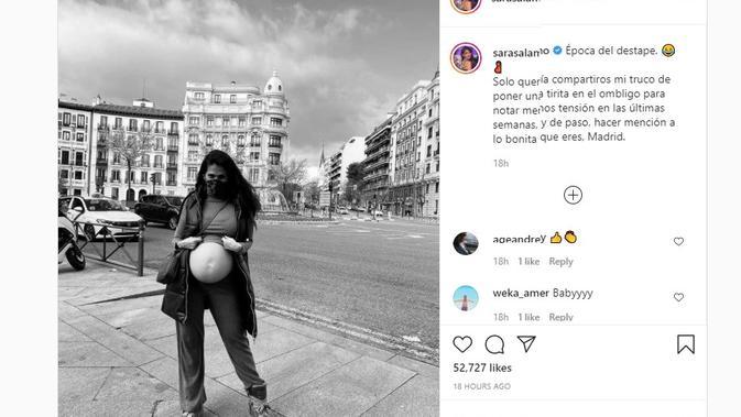 Sara Salamo, kekasih gelandang Real Madrid, Isco pamer foto kehamilan dan pemandangan indah kota Madrid, Spanyol (Instagram)