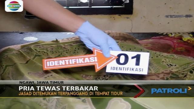 Seorang pria di Ngawi, Jawa Timur, tewas mengenaskan dengan tubuh terbakar di dalam rumah.