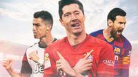 Pemain - Robert Lewandowski, Messi, dan Ronaldo (Bola.com/Adreanus Titus)