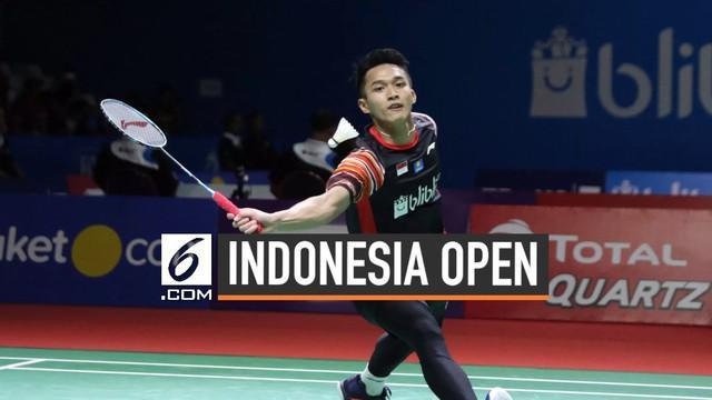 Pebulu tangkis Indonesia Jonatan Christie berhasil mengalahkan pemain asal Denmark pada Indonesia Open 2019.