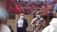 Bupati sekaligus Ketua Satgas Covid-19 Garut Rudy Gunawan saat melakukan launching program Proklamasi dalam upaya pencegahan dan pengendalian Covid-19 di Garut, Jawa Barat. (Liputan6.com/Jayadi Supriadin)
