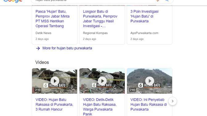 [Cek Fakta] Hujan Batu Sebesar Rumah di Purwakarta Adalah Serpihan Meteor? Ini Faktanya (Google Search)