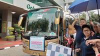 Menteri Kesehatan Republik Indonesia, Nila F Moeloek melepas 25 bus mudik pada Jumat, 8 Juni 2018.