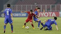 Penyerang Indonesia, Egy Maulana Vikri, saat melawan Chinese Taipei pada laga AFC U-19 di SUGBK, Jakarta, Kamis (18/10/2018). Indonesia menang 3-1 atas Chinese Taipei. (Bola.com/M Iqbal Ichsan)