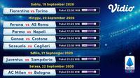 Jadwal Serie A 2020/2021 pekan pertama di Vidio. (Sumber: Vidio)
