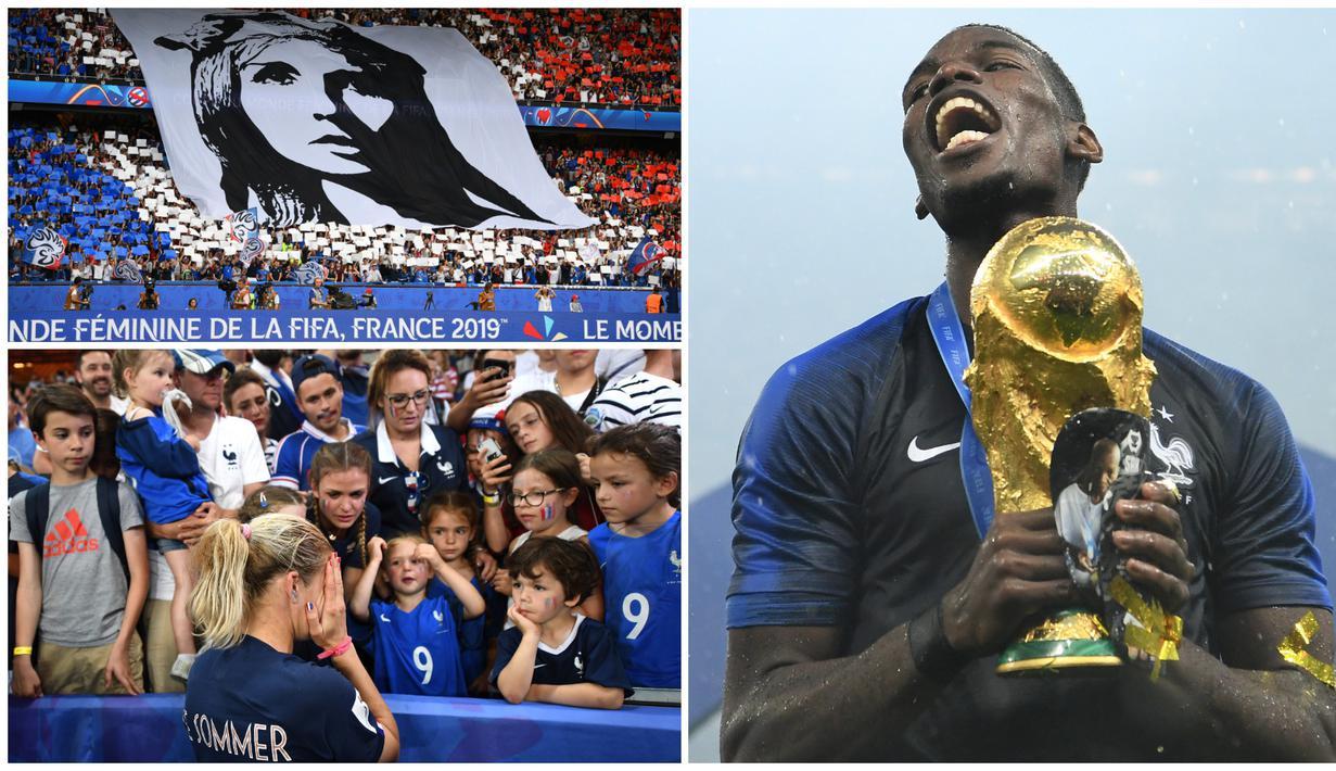Tim sepak bola wanita Prancis gagal mengikuti prestasi yang diraih Paul Pogba dan kawan-kawan yang mampu menjadi juara dunia. (Kolase Foto-foto AFP)