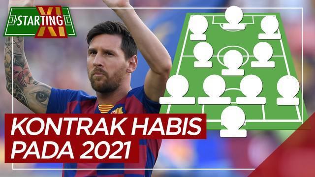 Berita motion grafis starting XI pemain La Liga yang kontraknya habis pada 2021, di dominasi pemain Real Madrid dan Barcelona.