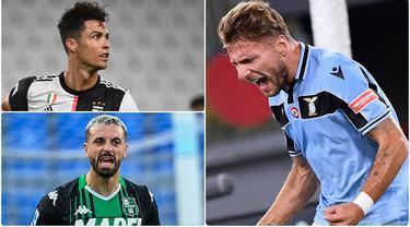 Ciro Immobile berhasil mencetak hattrick saat Lazio melawan Verona. Torehan tiga gol Immobile membuatnya melesat tinggalkan Cristiano Ronaldo di perebutan top skor Serie A musim ini. Berikut top skor Serie A Italia 2019-2020 hingga pekan ke-36. (kolase foto AFP/AP)
