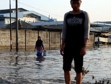 Seorang wanita menerobos banjir rob yang diakibatkan naiknya permukaan air laut di Muara Baru, Penjaringan, Jakarta Utara, Kamis (7/12). Rob tinggi membuat tanggul tidak mampu menahan air laut sehingga membanjiri jalanan. (Liputan6.com/Johan Tallo)