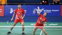 Ganda campuran indonesia Praveen Jordan / Melati Daeva Oktavianti lolos ke babak kedua Korea Terbuka 2019 yang berlangsung di Incheon Airport Skydome, Korea. (foto: PBSI)