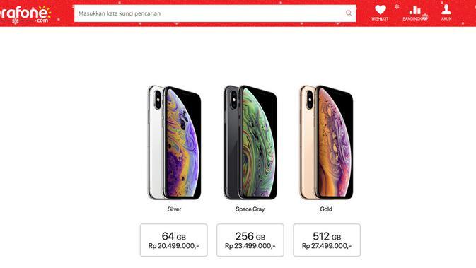 Banderol harga iPhone XS di Indonesia (Foto: Erafone.com)