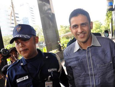 Mantan Bendahara Umum Partai Demokrat, Nazaruddin kembali menjalani pemeriksaan di KPK, Jakarta, (9/10/14). (Liputan6.com/Miftahul Hayat)