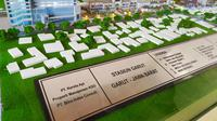 Replika rencana pembangunan stasiun kereta api Garut kota, Garut, Jawa Barat, yang diklaim bakal menjadi kereta api termegah di Indonesia. (Liputan6.com/Jayadi Supriadin)