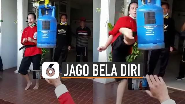 Video perempuan cantik jago bela diri dan tendang tabung gas viral di media sosial.