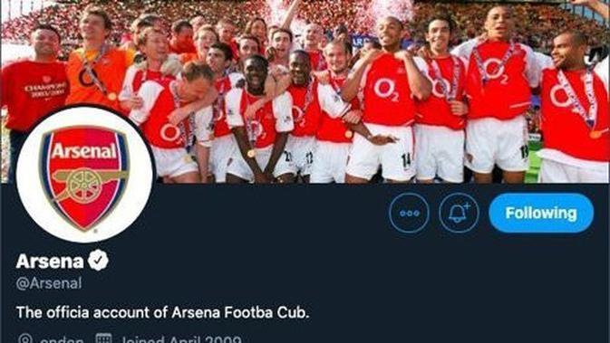Twiiter Arsenal menghilangkan semua huruf L.