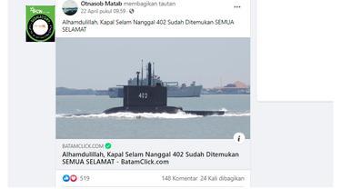 Cek Fakta Liputan6.com menelusuri klaim Kapal Selam Naggala 402 ditemukan semua selamat