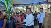 Menteri Pertanian Andi Amran Sulaiman di Desa Solonsa Jaya, Kecamatan Witaponda, Kabupaten Morowali, Sulawesi Tengah.