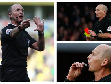 Wasit Mike Dean dan keluarganya mendapat ancaman pembunuhan usai mengeluarkan 3 kartu merah dalam 2 partai beruntun di Premier League. Wasit yang telah memimpin lebih dari 500 partai sejak tahun 2000 ini memang dikenal kerap membuat keputusan kontroversial. (Kolase Foto AFP)